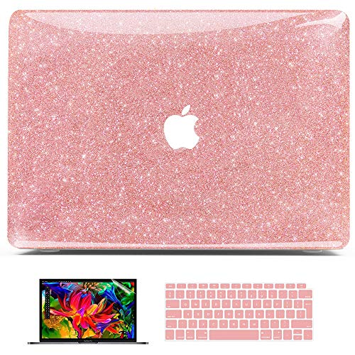 Belk MacBook Air 13 inch Case 2021 2020 2019 2018 Release M1 A2337 A2179 A1932 with Retina,Glitter Bling Crystal Smooth PC Hard Case + Keyboard Cover + Screen Protector, MacBook Air Case, Rose Gold