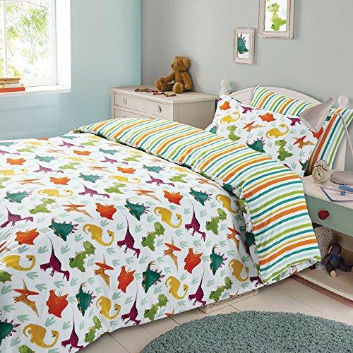 Dreamscene - Funda de edredón para niños, Poliéster y algodón., Dinosaurio Verde Naranja Blanco, Suelto