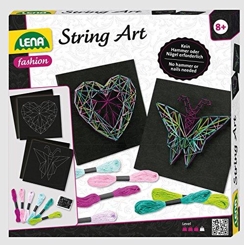 Lena 42650 – zestaw do majsterkowania stringów Art motyl i serce, kompletny zestaw do 2 obrazów nici, z 2 płytkami podstawowymi, ok. 21,5 x 21,5 x 1 cm, szpilki i 6 kolorowych przędzy, zestaw dla dzieci od 8 lat