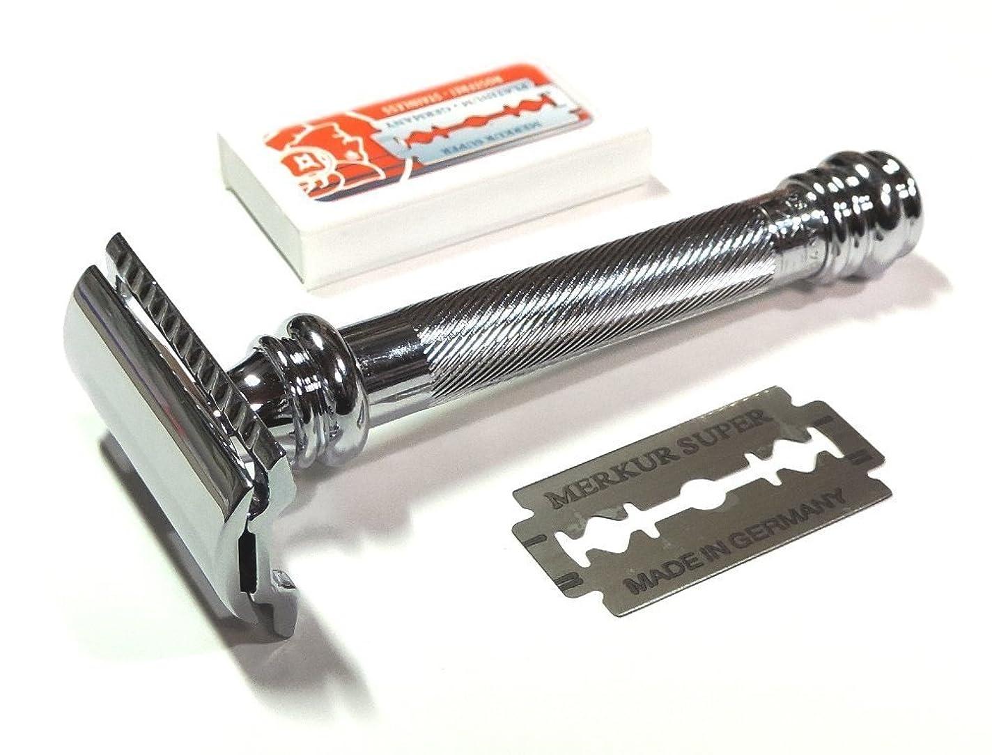 幸運鏡石膏メルクールMERKUR(独)髭剃り(ひげそり)両刃ホルダー38C エレガントクロム 替刃10+1枚付