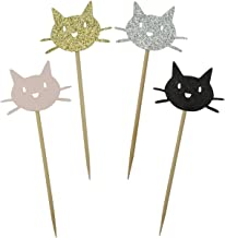 Shxstore Kitty Cat Cupcake Toppers Shiny Black Gold Silver and Pink Cute Cat Head Cake Top Decorations for Baby Shower Birthday Party 24pcs