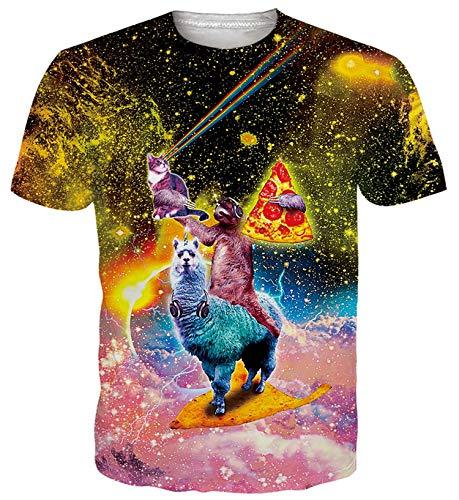 ALISISTER T Shirt Galaxia Gato Perezoso Alpaca Hombre Mujer Gracioso 3D Impresión Camiseta Personalizada Verano Manga Corta Camisetas Divertidas XL