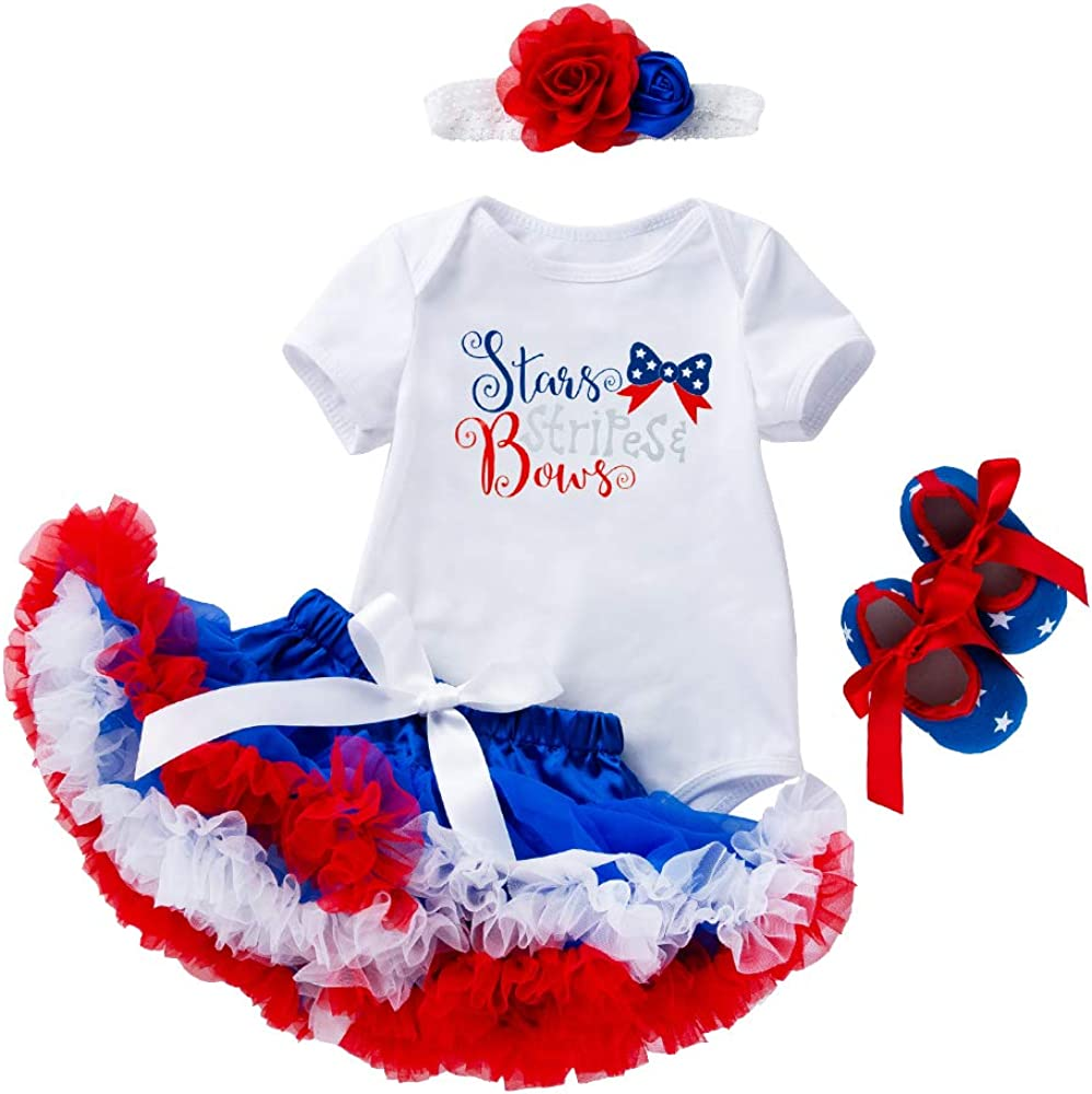 WINZIK 4th of July Baby Girl 4Pcs Tutu Skirt Outfit Set Romper Bodysuit Headband Shoes Independence Day Garment Party Costume