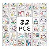 YO-HAPPY 32 unids/Set Pintura de Navidad Plantillas de Dibujo Plantillas de álbum de grabación en Relieve DIY
