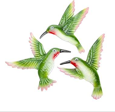 Bits and Pieces - Set of Three Hummingbird Garden Art - Hanging Wall Décor - Decorative Wall Sculpture for Indoor or Outdoor