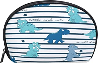 ALAZA Dinosaur Striped Half Moon Cosmetic Makeup Toiletry Bag Pouch Travel Handy Purse Organizer Bag for Women Girls