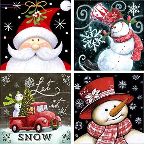 Christmas Diamond Painting Kits 5D Full Drill 4 Pack - Diamond Painting Kits for Adults and Beginner, Diamond Arts(Snowman Christmas Tree) (Colorful)