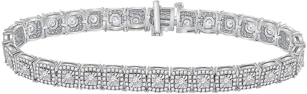 El Paso Mall Super sale period limited Jewels By Lux 10K White Gold Diamond Round Tennis Bracele Womens