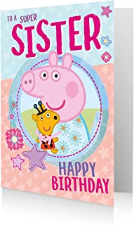 Official Peppa Pig Sister Birthday Card, To A Super Sister