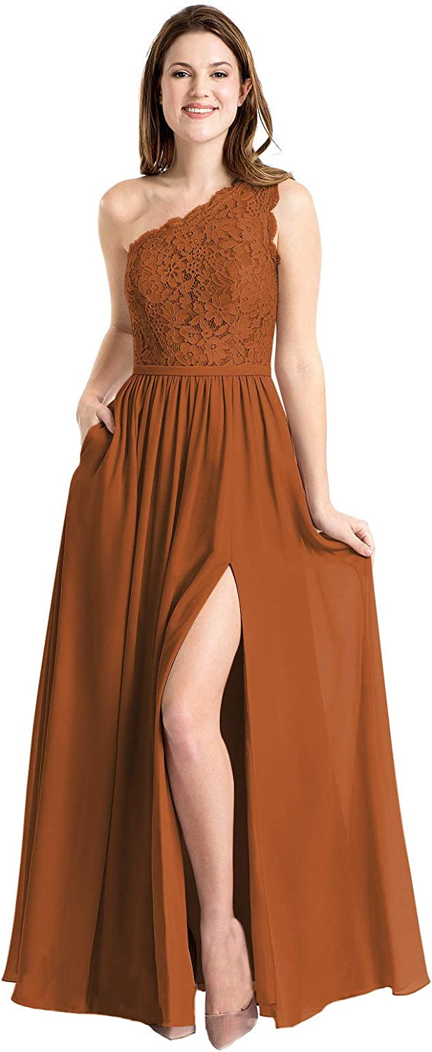 Now and Forever Women's One Shoulder Lace Chiffon Long Bridesmaid Dress with Slit Formal Evening Prom Gown for Girls