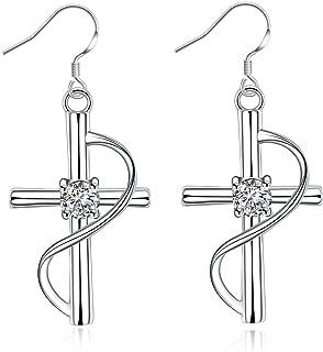 Silver Cross Dangle Earrings, Fashionable & Elegant Fish Hook Earrings for Casual Formal Attire Crucifix Religious Themed Girls Teens Women