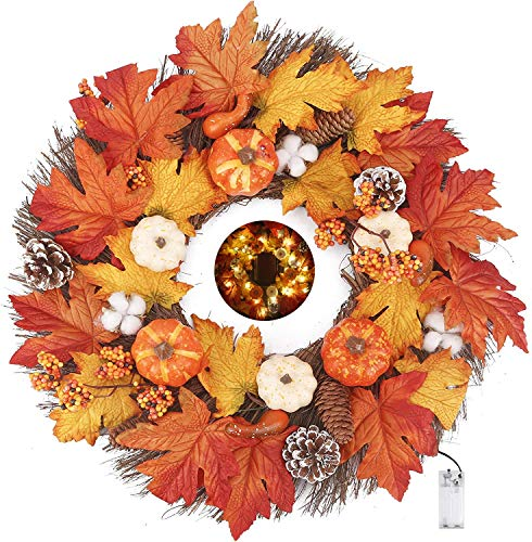 Artificial Wreath with LED Light String, 17 Inch Autumn Pumpkin Cotton Pine Cone Berries Maple Leaves Harvest Wreath for Front Door Wall & Thanksgiving Decorations