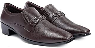 BXXY Mens Faux Leather Height Increasing Formal Slip-On Shoes on Cuban Sole