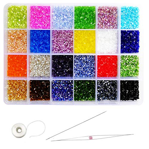 Tibaoffy Size 11/0 Crafts Glass Seed Beads 2mm Bugle Beads Beading Needles with Organizer Box for Jewelry Making (24 Assorted Multicolor Set, Total About 21600pcs)