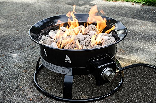 Heininger 5995 58,000 BTU Portable Propane Outdoor Fire Pit with 5996 Black Fire Pit Cover with Carrying Handle