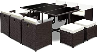 Tangkula Patio Furniture Outdoor Wicker Rattan Dining Set Cushioned Seat Garden Sectional Conversation Sofa with Glass Top Coffee Table (11pcs)
