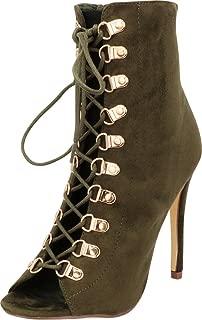 Cambridge Select Women's Peep Toe 90s Lace-Up Stiletto High Heel Ankle Bootie