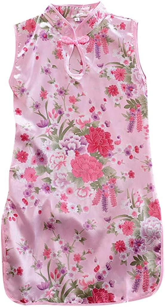 Giulot Toddler Kids Girls Qipao Sleeveless Floral Printed Chinese Cheongsam Mini Dress Button Tank Dress Casual Sundress