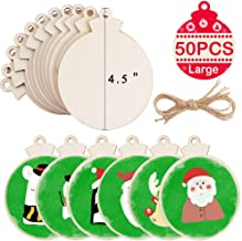 """OurWarm 50pcs DIY Christmas Wooden Ornaments Unfinished, Large 4.5"""" Natural Wood Slices Predrilled with Hole Wooden Circle..."""