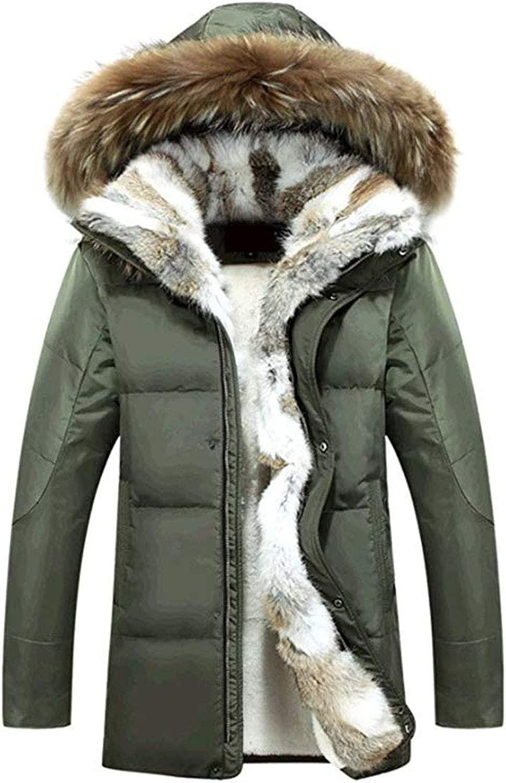 Lihua Winter Herren Warmer Mantel Kunstpelz gefüttert 90% Daunenjacke mit Kapuze Pelzkragen (Farbe   Grün, Größe   XXL)