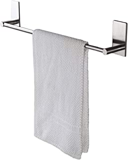 ZETA SUS304 Stainless Steel Self-adhesive 16-Inch Bathroom Kitchen Single Towel Bar Bath Wall Shelf Rack Hanging Towel Stick On Sticky Hanger Contemporary Style, Brushed Finish