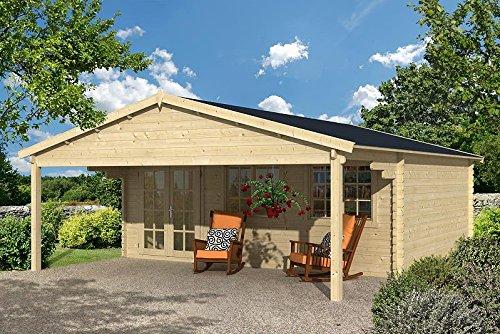 Gartenhaus DRESDEN ISO Blockhaus 600x500cm + 250cm Vordach Gartenlaube Holzhaus Holzlaube