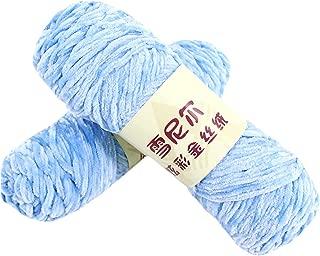 CY 2PCs Classic Velvet Yarn Ball for Crochet & Knitting DIY Scarf Shoes Doll Sky Blue
