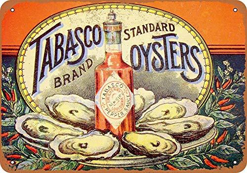 mefoll 8x12 Metal Sign - Tabasco Pepper Sauce Oysters - Retro Wall Decor Home Decor Funny Novelty Tin Sign Bar Decor