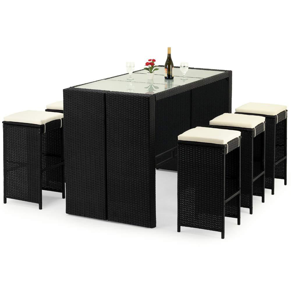 Deuba Set de muebles de bar poliratán 6 Taburetes de bar con cojines de 7cm de grosor conjunto de muebles para jardín: Amazon.es: Jardín