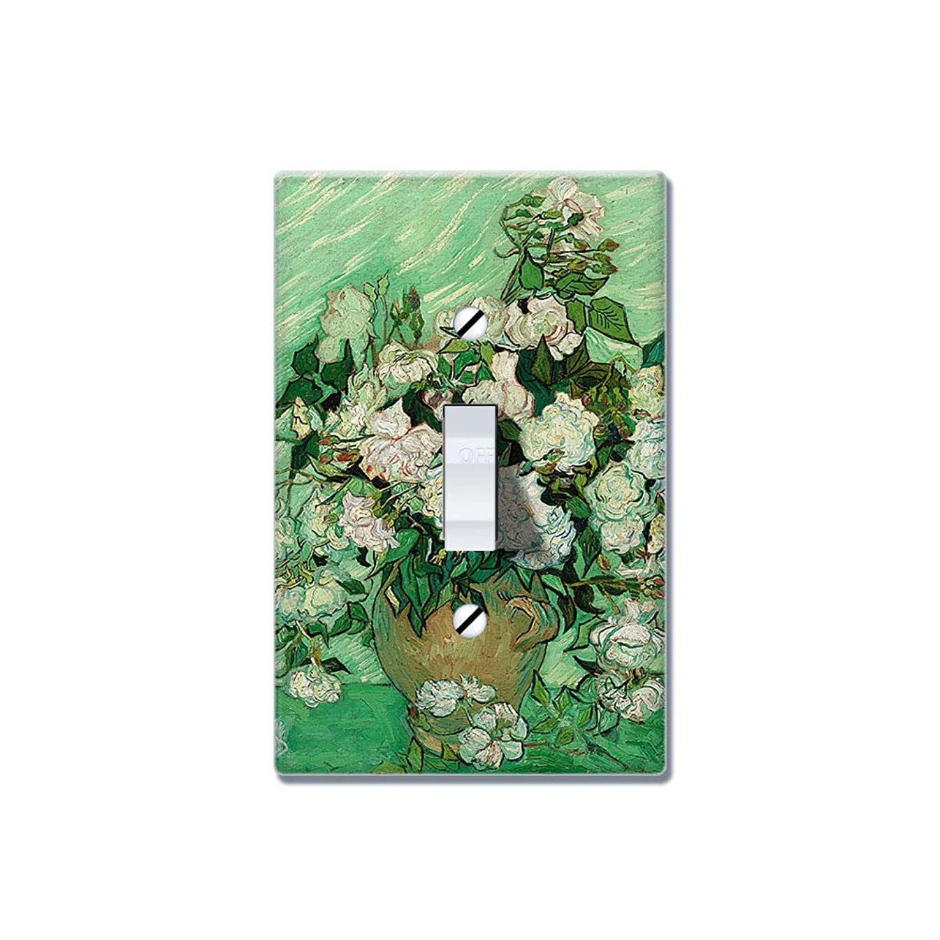 WIRESTER Single Gang Toggle Light Switch Plate/Wall Plate Cover - Vase With Pink Roses By Vincent Van Gogh