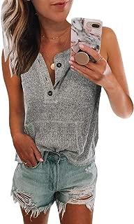 Womens V Neck Tank Tops Sleeveless Button Down Waffle Knit Pocket Henley Shirts