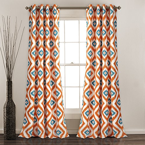 "Lush Decor Diamond Ikat Window Curtain Panel Set, 84"" x 52"", Turquoise/Orange"