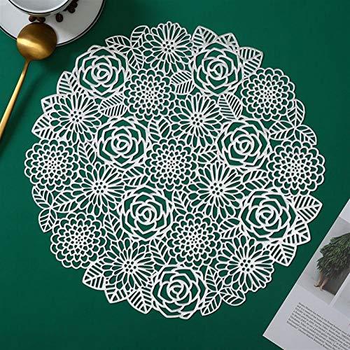 ZBW Round Coaster Isolierung Tabelle Matten-Auflagen aus Kunststoff Tabelle Tischset Anti-Rutsch-Matten Kaffee-Tee-Platz-Matten Küchendeko (Color : 03 Sliver)