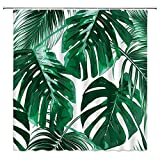Tingrun Palm Leaves Shower Curtain Green Tropical Tree Banana Leaf Jungle Plant Theme Creative Painting Art White Picture Fabric Bathroom Curtain Set 71x71 Inch with Hooks, Green…