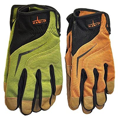 Two Pairs Habit® Premium Leather & Spandex All Purpose Work Gloves By Plainsman