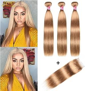 XCCOCO Hair Honey Blonde 3 Bundles Peruvian Silk Straight Hair with 4x4 Lace Closure Cheap 8A Pure Blonde Color 27# Remy Virgin Human Hair Bundles with Closure(16 18 20inch+14inch Closure)
