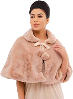 Zoestar Women's Faux Fur Shawls and Wraps Wedding Fur Cape Winter Fur Scarf for Brides and Bridesmaids