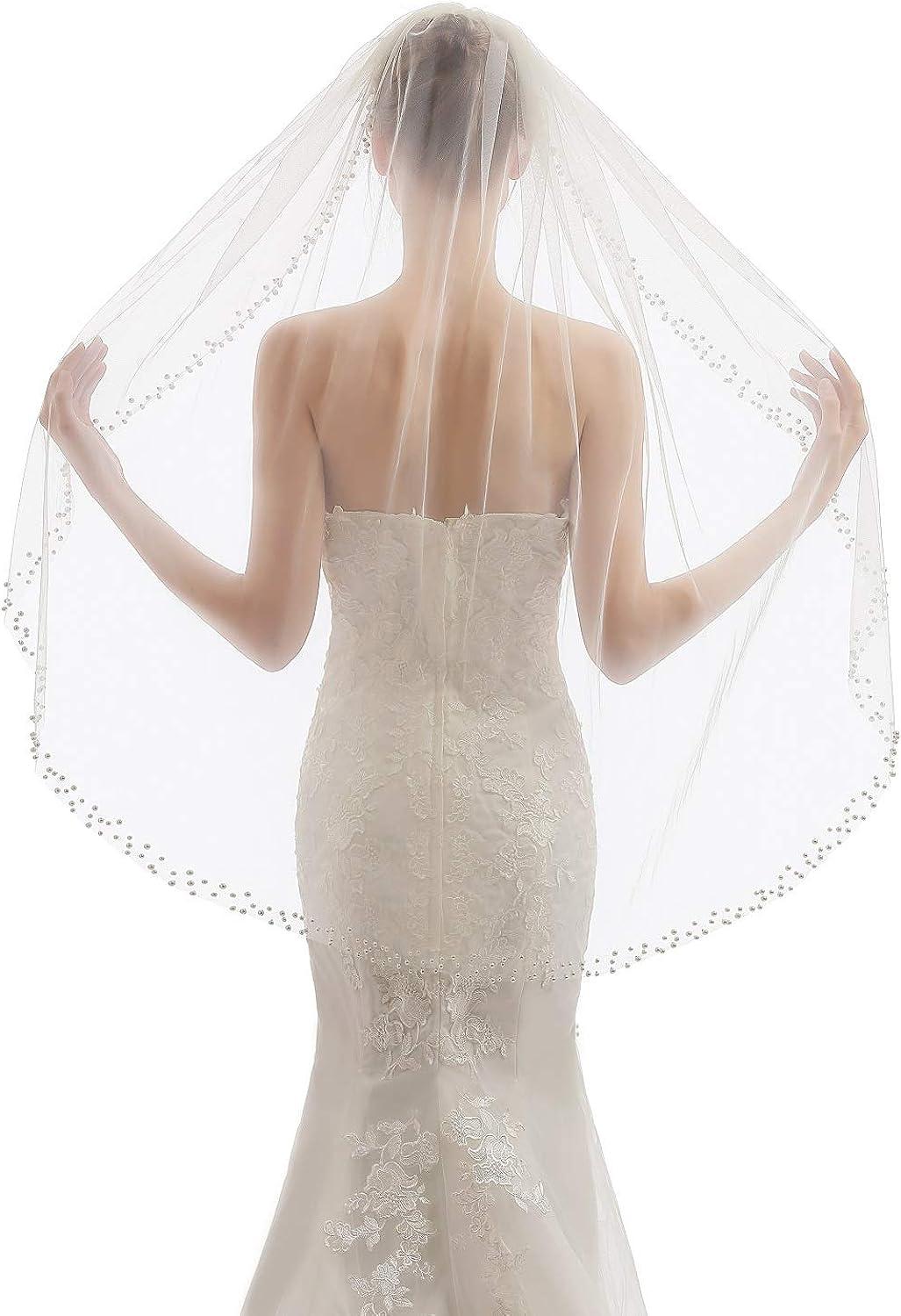 Elawbty Womens 1 Tier Fingertip Length Pearl Wedding Bridal Veil With Comb X01