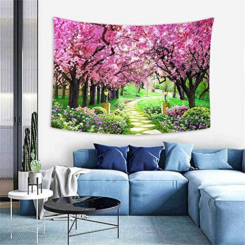 Pink Tree Tapestry,Wall Hanging Wall D¨¦cor Blanket for Bedrooms Living Room Tablecloth Dorm Home Decor Pink Tree Beautiful Forest Nature Flower, 59
