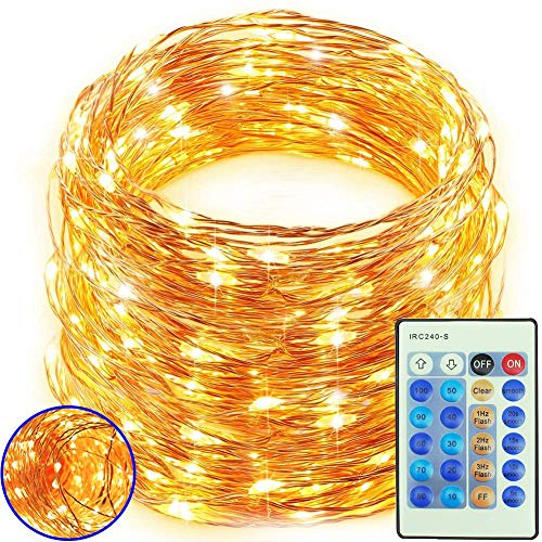 Freall LED Lights for Bedroom 164 FT 500 LED, Warm White Fairy Lights, String Lights Dimmable Remote Control, Firefly Twinkle Copper Wire Lights Waterproof IP65 for Indoor/Outdoor Party Wedding Garden