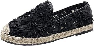Espadrilles Femme Plates Pas Cher A La Mode À Semelle Mince Respirant Confort Chaussures De Toile Ete Dentelle Fleurs Loafers