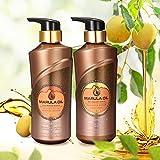 Luckyfine Kit Champú y Acondicionador - 2 botellas x 500 ml   Rico en Aceite de Marula, Tratamiento nutritivo y profunda para el cabello, reparación pelo, dejan el cabello suave, brillante y liso