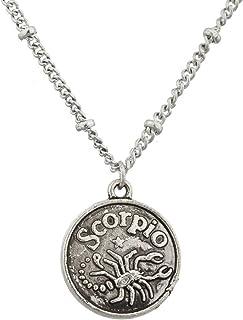 Lux Accessories Burnish Silver Scorpio Astrological Pendant Charm Necklace
