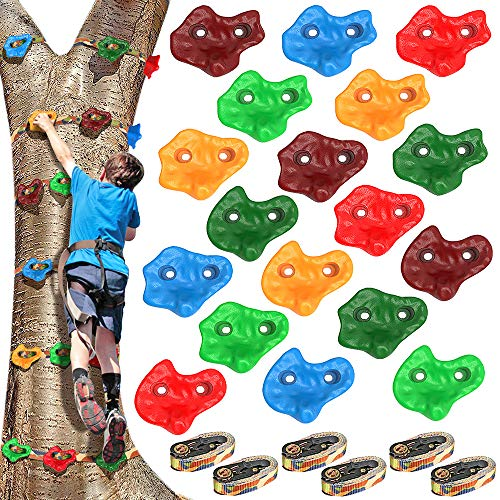 Dolibest 18PCS Rock Climbing Holds for Kids and 6 Ratchet Straps for Climber,Kids Climbing Rocks for Warrior Obstacle Course Training,Climbing Rope for Outdoor Playground Equipment