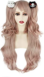 JoneTing Light Pink Wig for Cosplay Wig Long Wavy Wigs with Ponytails Pink Synthetic Wig with Bears
