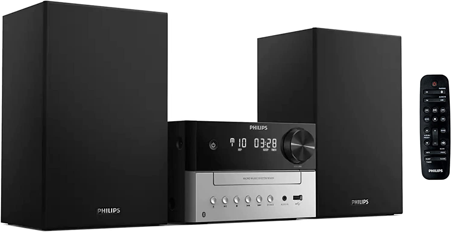 Philips Bluetooth Stereo System for Home with CD Player, MP3, US