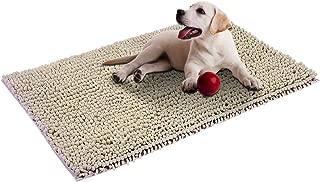 Cosyroom Microfiber Chenille Dog Door Mat Ultra Absorbent Dirty Non Slip Doormat Rugs for Patio, Front Door, Entry, Machine Washable (Large, Beige)