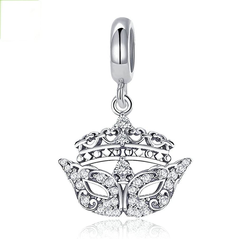 Beauty Mysterious Mask Charm 925 Sterling Silver European Style Fashion Crystal Bead Fit DIY Bracelet or Necklace