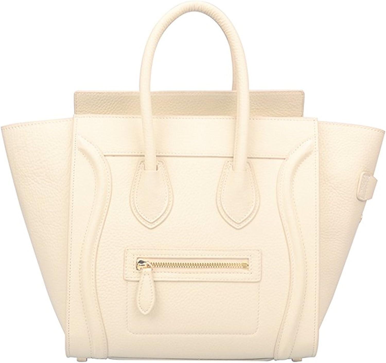 Genuine Leather Smile Top Handle Handbag Purse White