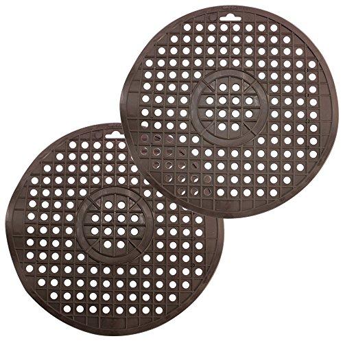 COM-FOUR® 2x Revestimiento del fregadero - Alfombra redonda para el fregadero - Protector fregadero para la cocina - Cubre fregadero de goma (2 piezas - marrón)
